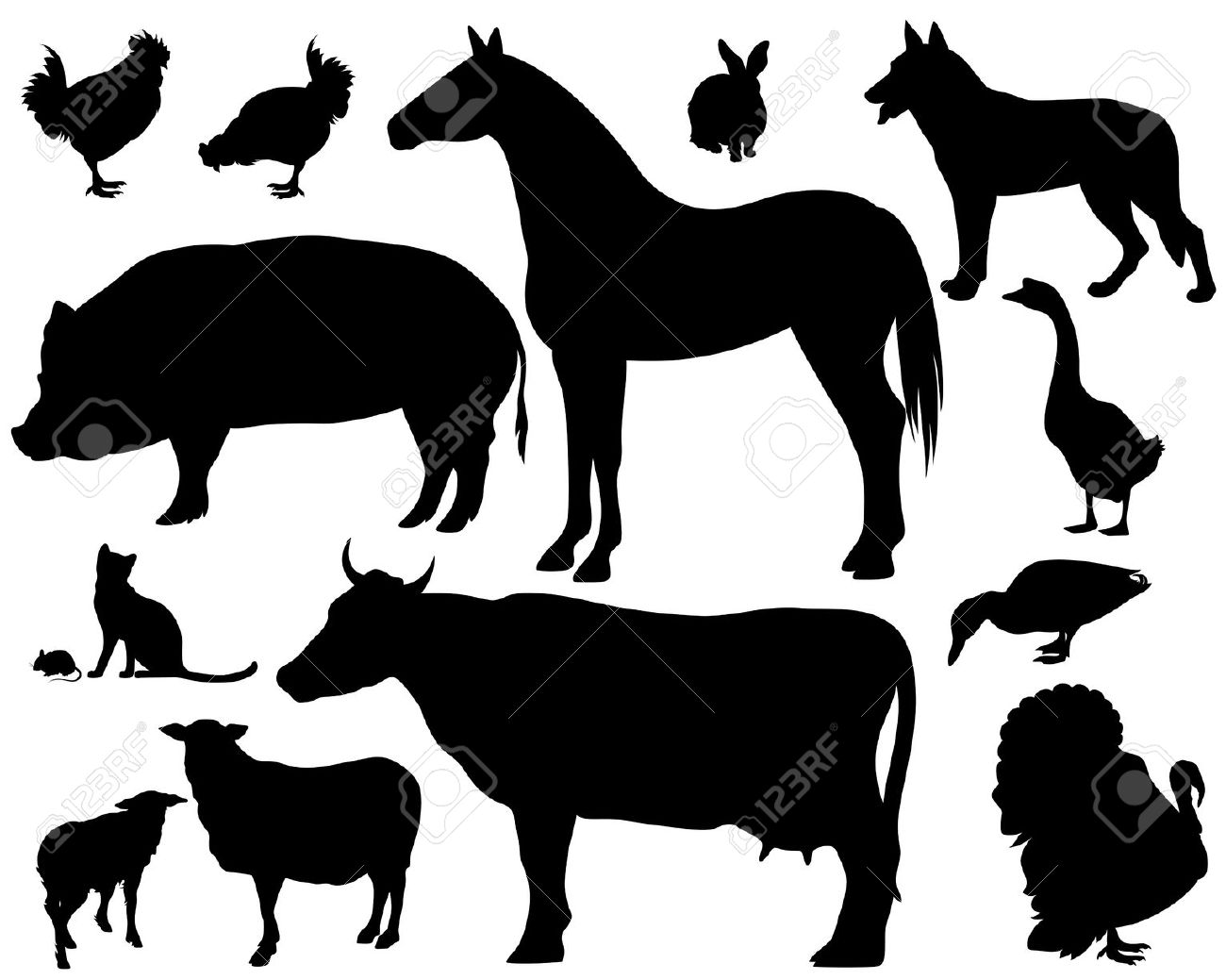 Realistic Animal Silhouette Clipart.