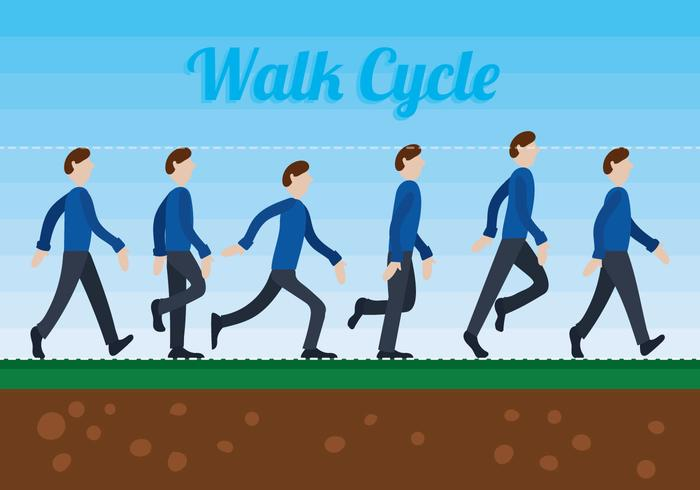 Walk Cycle Free Vector Art.
