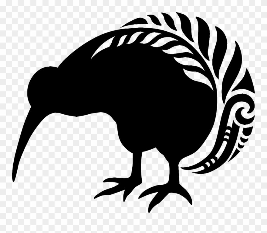 Kiwi Bird Clipart Maori Pattern.