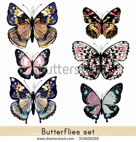 Vintage Butterfly Stock Images, Royalty.