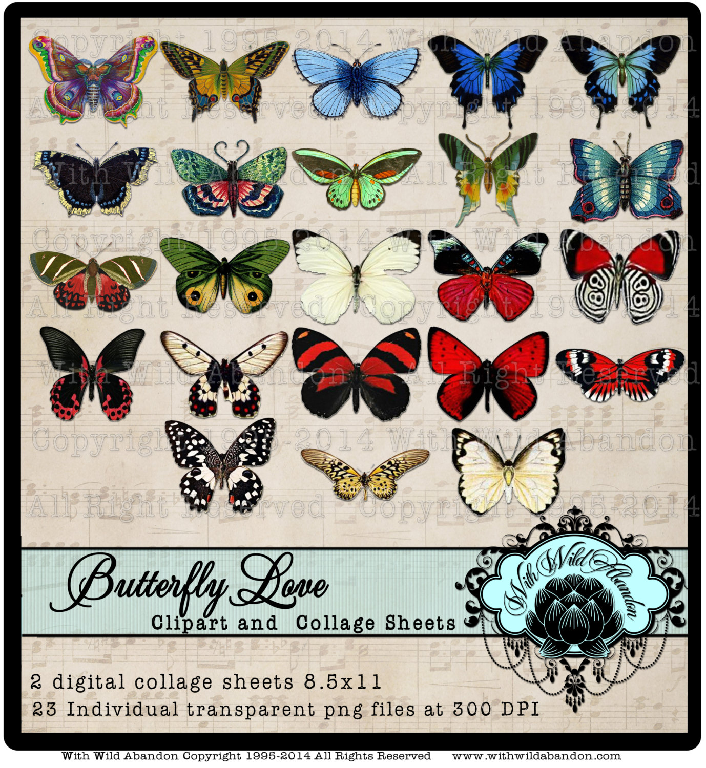 Butterfly Clipart Butterfly Digital Collage Sheet Realistic.
