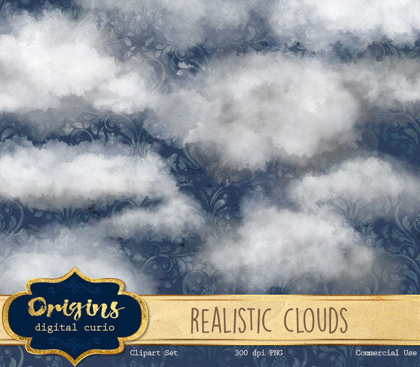 Realistic Clouds Clipart.