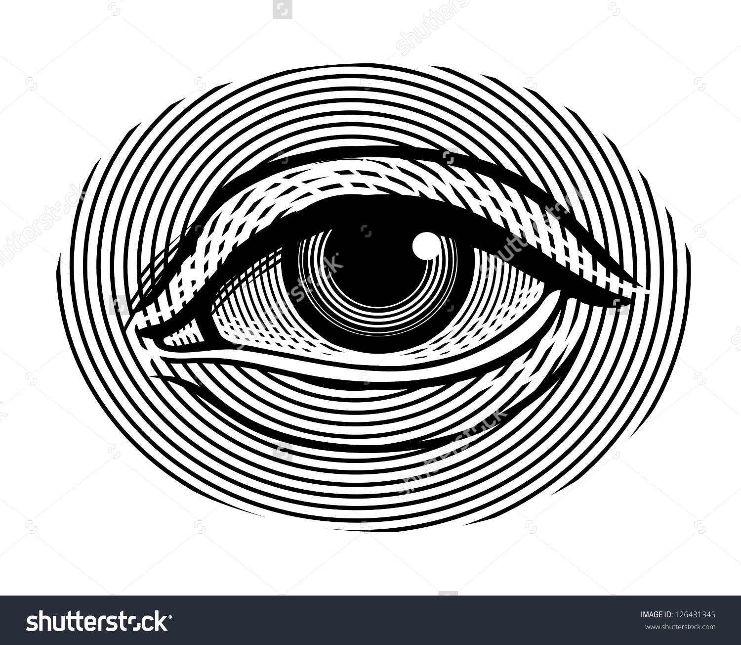 Vector Illustration Human Eye Vintage Engraved Stock Vector.
