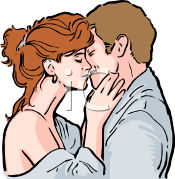 Realistic Clip Art of a Man and Woman Kissing.