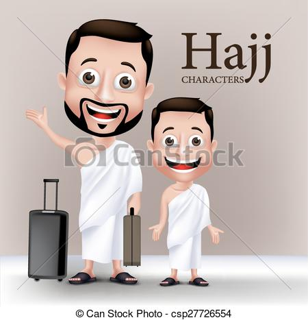 Clipart Vector of Realistic Muslim Man Character.