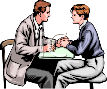 Realistic Clip Art of a Gay Couple on a Date.