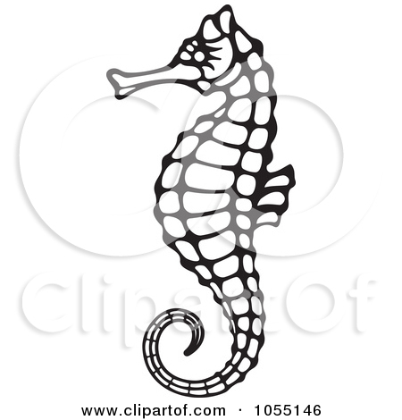 Seahorse Clipart Black And White.