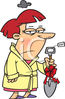 Royalty Free Clipart Image of a Woman Holding a Really Bad.