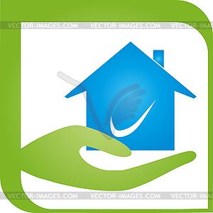 House, Hand, Real Estate, Realtor, Logo.