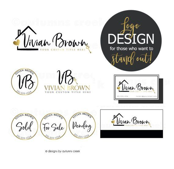 Real estate logo design premade logo design business card.