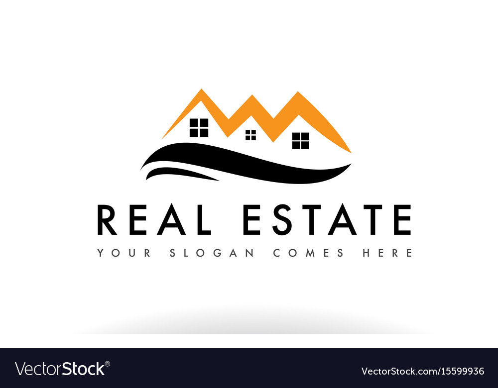 Orange black real estate house logo icon company.