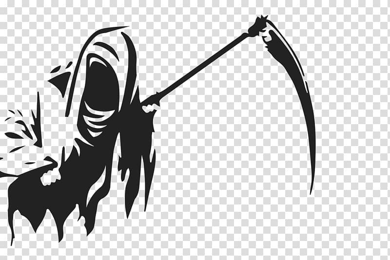 Death Logo Silhouette White, reaper transparent background.