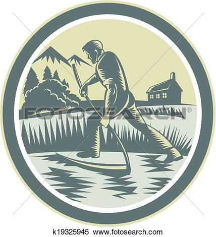 Clipart of Organic Farmer Reaping Uisng Scythe Retro k19325945.