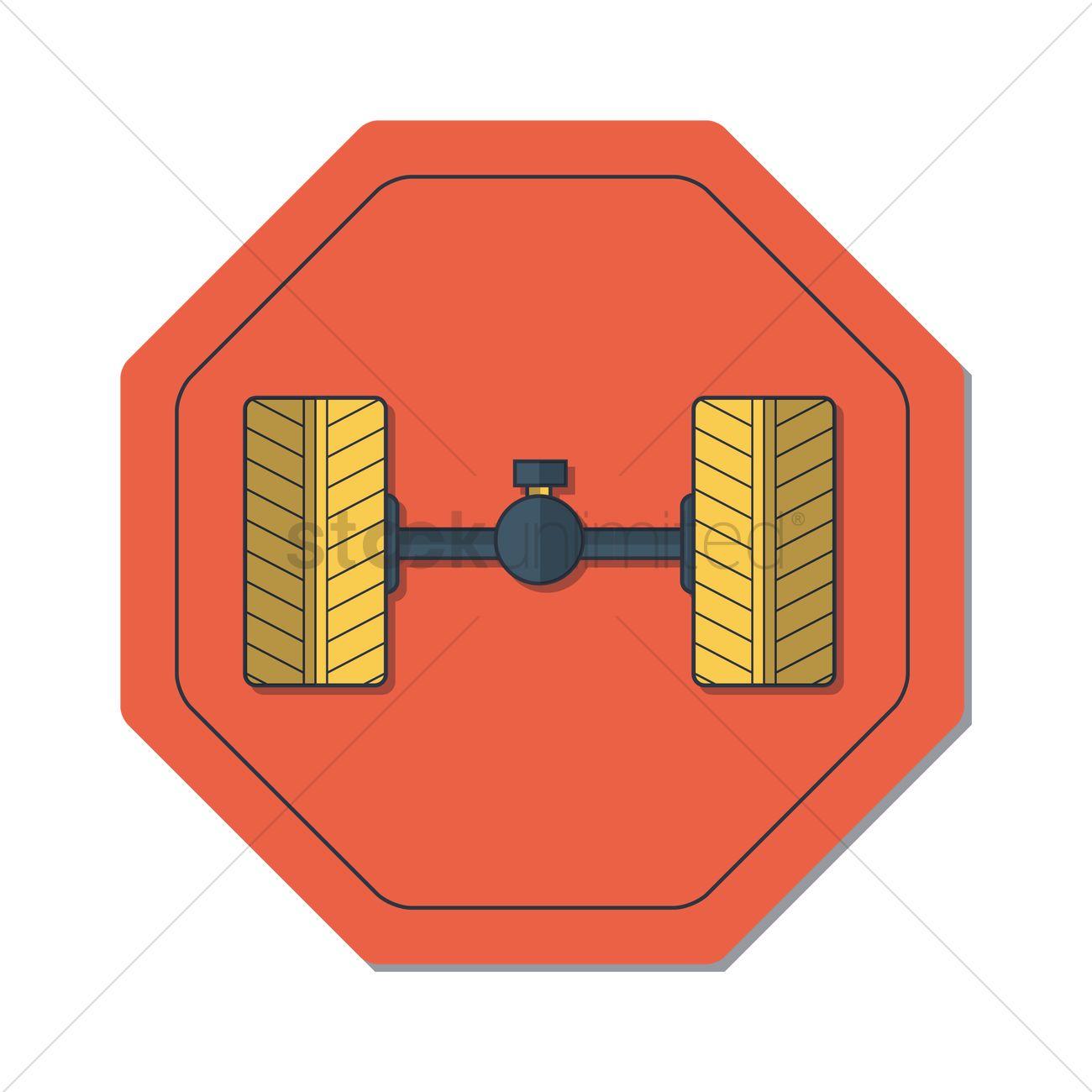 Rear axle Vector Image.