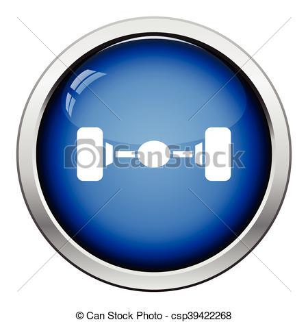 Clip Art Vector of Car rear axle icon. Glossy button design.