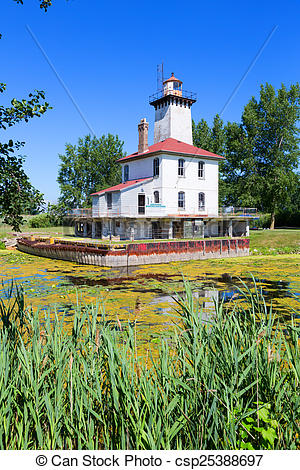 Stock Photographs of Saginaw River Rear Range Light Station.