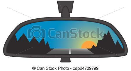EPS Vectors of Mountain Sunset In Chunky Rear View Mirror.