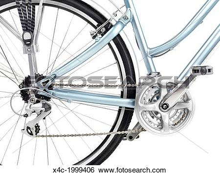Stock Images of Bicycle rear wheel set of gears and pedals closeup.