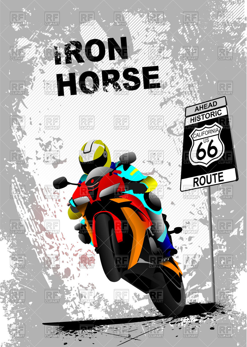 "Motorcyclist rides on rear wheel and road sign ""Route 66"" on."