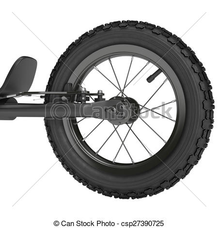 Clip Art of Rear wheel scooter with brake system on a white.