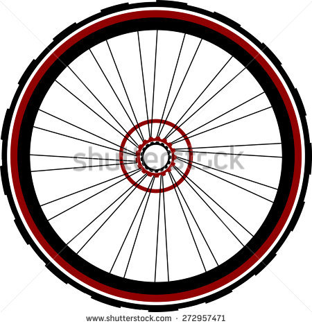 Single Speed Bicycle Rear Wheel Stock Vector Illustration.