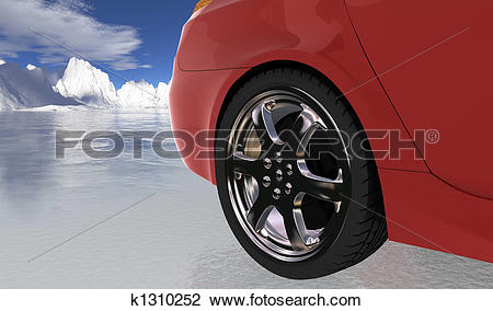 Clip Art of Red sport car on thin ice , rear wheel k1310252.