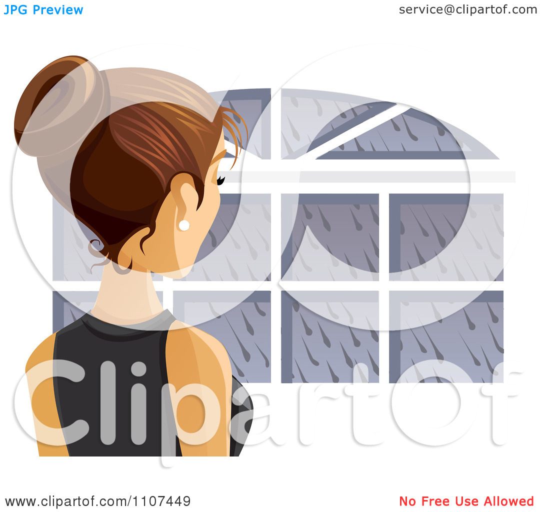 Clipart Rear View Of A Brunette Woman Looking Out A Window On A.