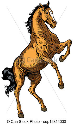 Vector Clipart of brown horse.