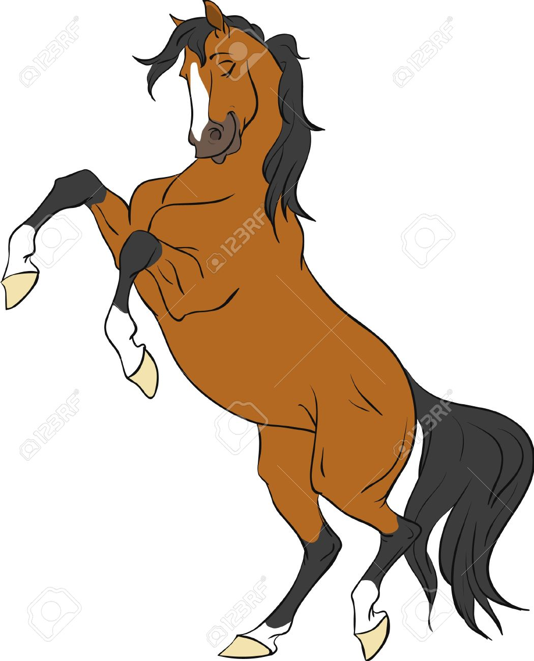 Horse rearing up and man clipart.