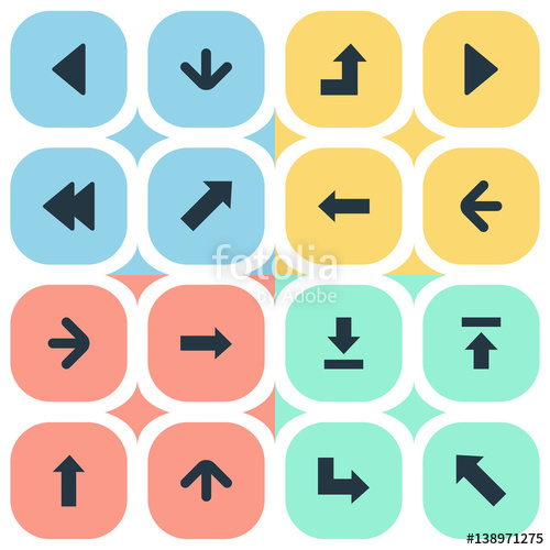Set Of 16 Simple Arrows Icons. Can Be Found Such Elements As.
