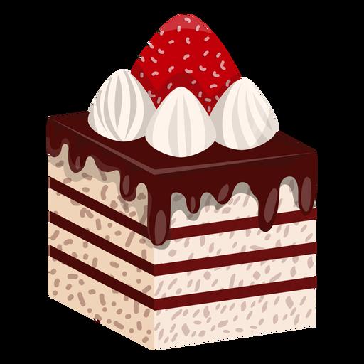 Rebanada de pastel con fresa.