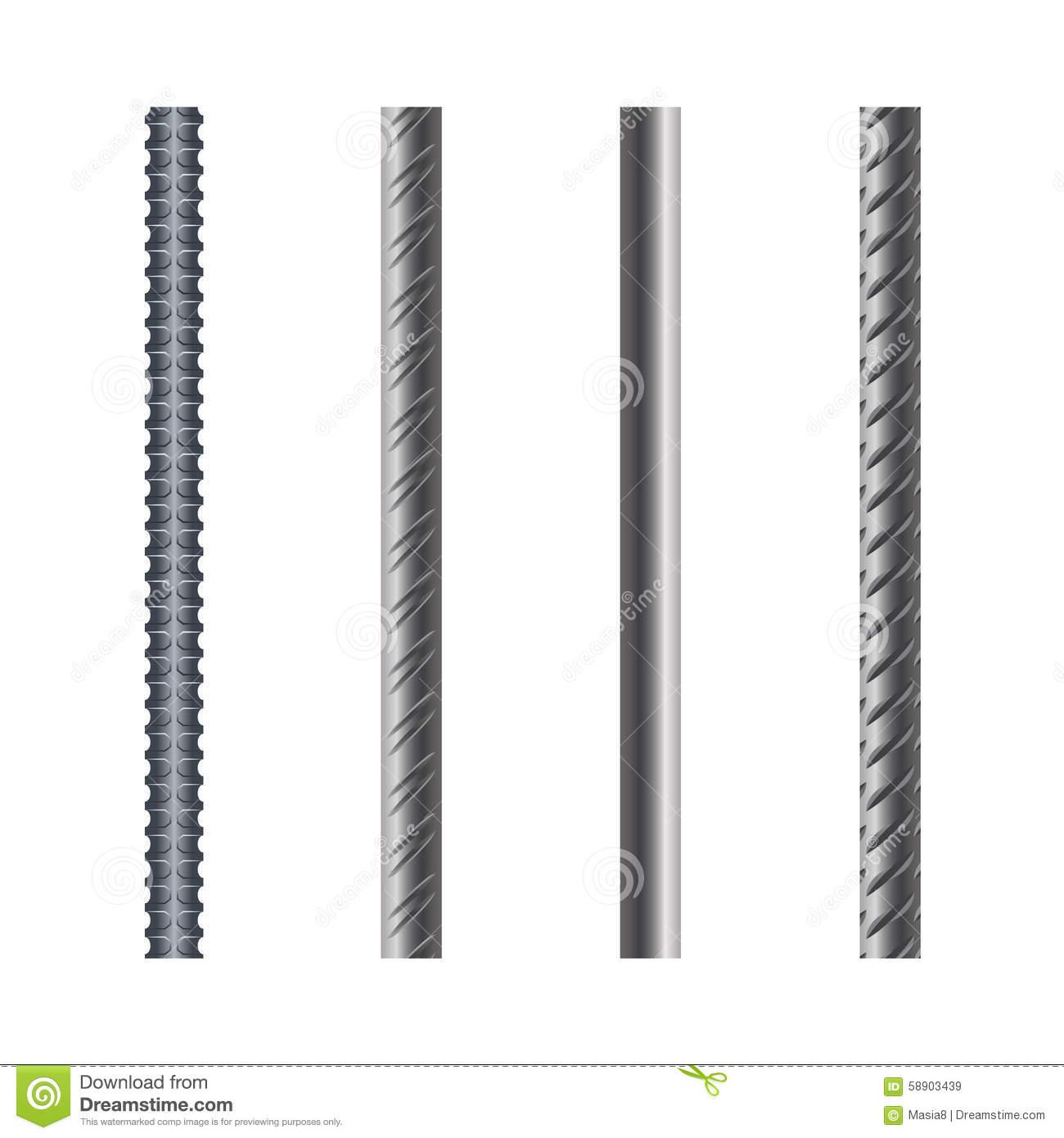 Endless Rebars, Reinforcement Steel, Illustration Stock.