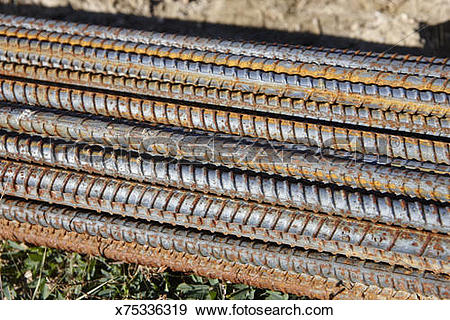 Stock Photograph of Rebar reinforcing steel bars in a pile.