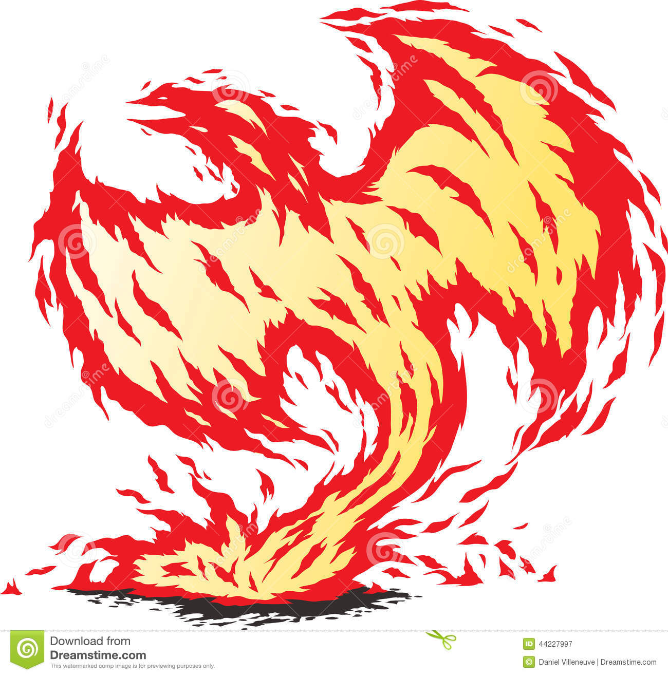 Reborn Phoenix Pop Art Drawing. Fire Bird Drawing Stock Vector.