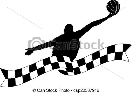Vector Clip Art of Silhouette of Basketball Rebound with Checked.