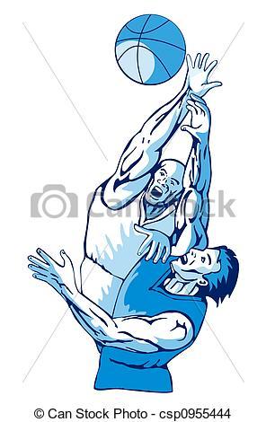 Drawing of Basketballers rebounding.