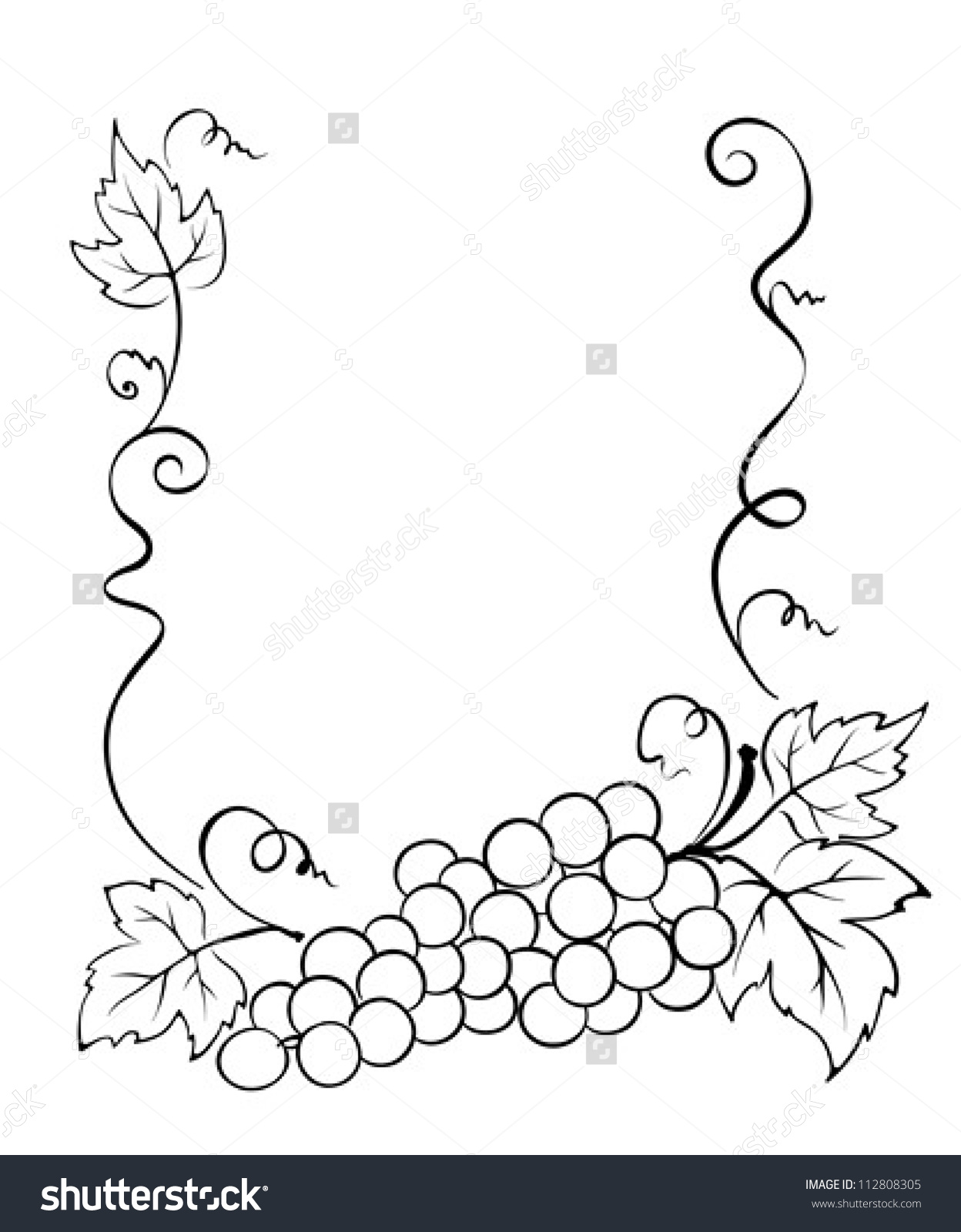 Frame With Grape Stock Vector Illustration 112808305 : Shutterstock.