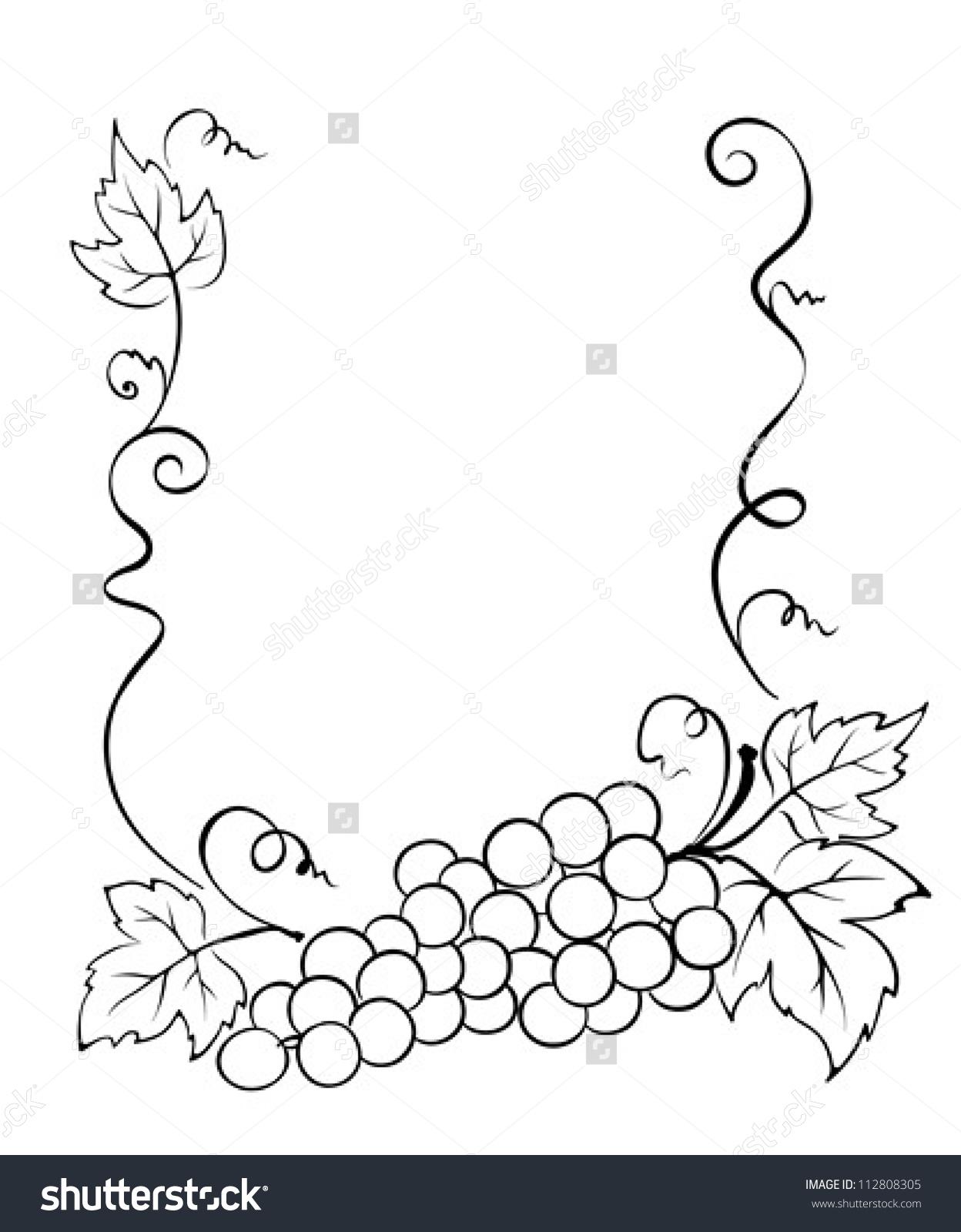 Frame With Grape Stock Vector Illustration 112808305 : Shutterstock.