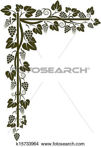 Clipart of corner of the vine silhouette k15733964.