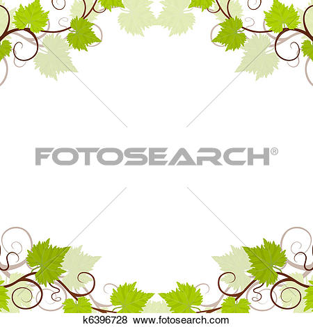 Clip Art of Garden grape vines frame. k6396728.