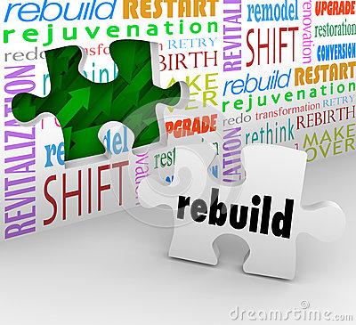 Reinvention Bullhorn Megaphone Redo Restart Rebuild Royalty Free.