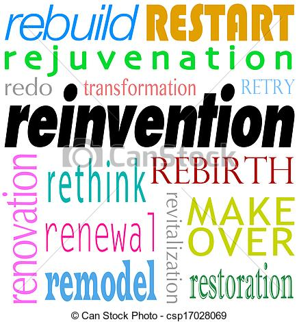 Stock Image of Reinvention Word Background Rebuild Redo Restart.