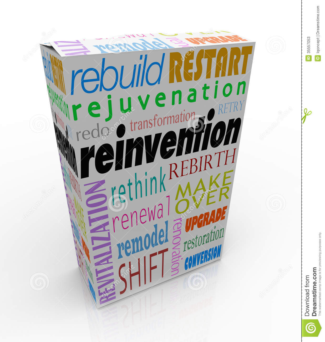 Reinvention Product Package Box Renew Refresh Revitalize Stock.