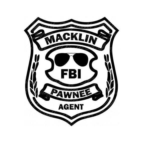 Burt Macklin Parks and Recreation FBI badge SVG DXF png pdf.