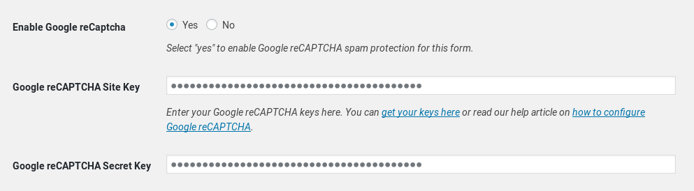 Add Google reCAPTCHA to forms.