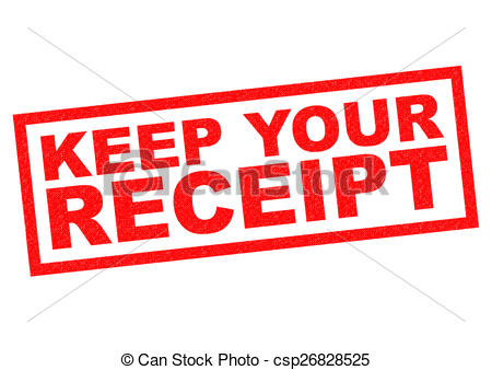 Clip Art of KEEP YOUR RECEIPT red Rubber Stamp over a white.