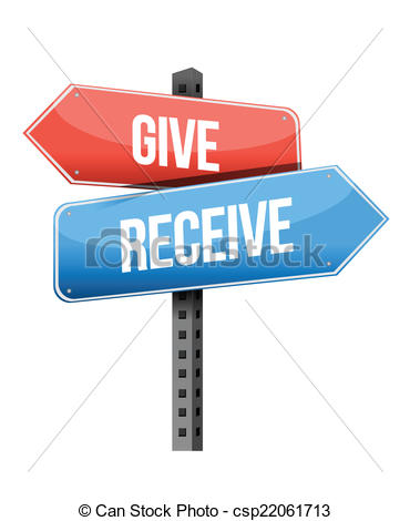 Vector Clip Art of give and receive street sign illustration.