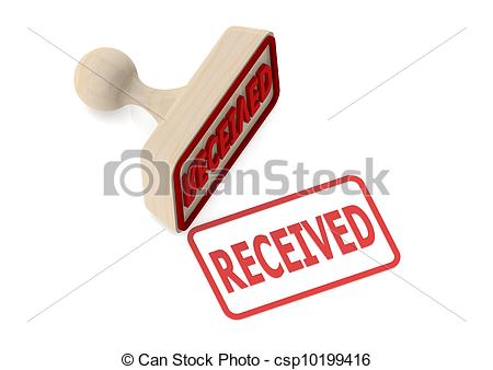 Clipart of Wooden stamp with received word.