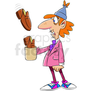 homeless man receiving shoes for tips clipart. Royalty.