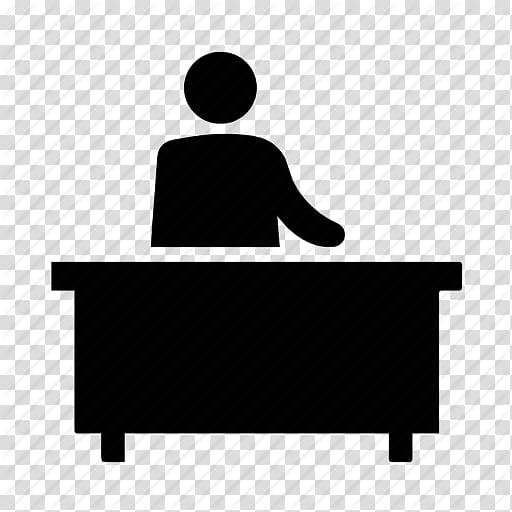 Man and desk illustration, Computer Icons Desk Receptionist.